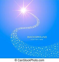 estrella, cola, ilustración, encendido, brillante, plano de ...