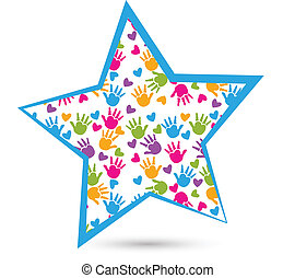 estrella, con, niños, manos, logotipo