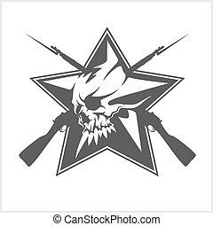estrella, cráneo, forma, aislado, blanco, soviético