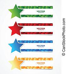 estrella, cubos, bandera