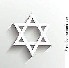estrella, david, diseño, blanco, sombras
