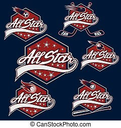 estrella, deportes, todos, vendimia, conjunto, crestas