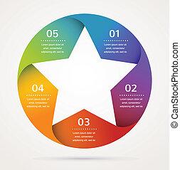 estrella, diseño, y, infographics, resumen, plano de fondo, icono