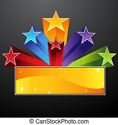 estrella, disparando, bandera