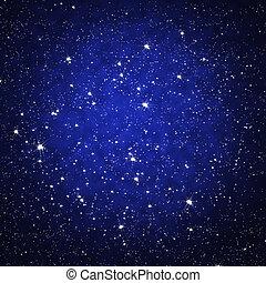 estrella, en, cielo, por la noche