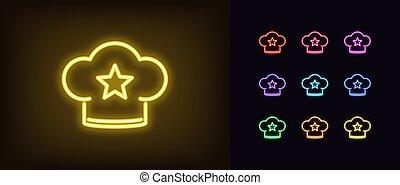 estrella, encendido, clasificación, neón, icon., panadería, ...