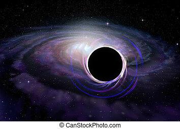 estrella, espacio, ilustración, negro, profundo, agujero