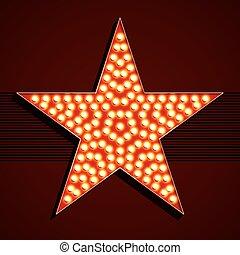 estrella, estilo, bombilla, broadway, luz