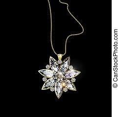 estrella, fondo negro, joya, colgante, cadena de oro