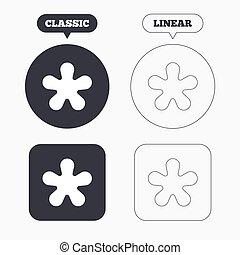 estrella, footnote, asterisco, símbolo., señal, icon.