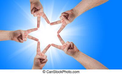 estrella, forma, manos