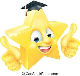 estrella, graduación, emoji, emoticon, mascota