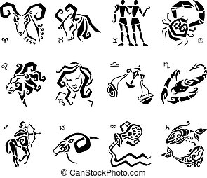 estrella, horóscopo, set., vector, muestras del zodiaco