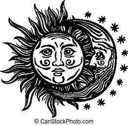 estrella, humano, vendimia, caras, ilustración, luna, vector, retro, folklore, sol