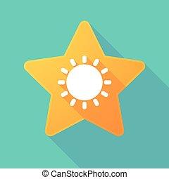 estrella, icono, con, un, sol