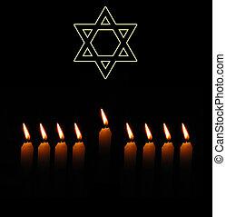estrella, judío, velas, david, nueve, plano de fondo, feriado