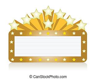 estrella, letrero de gas de neón