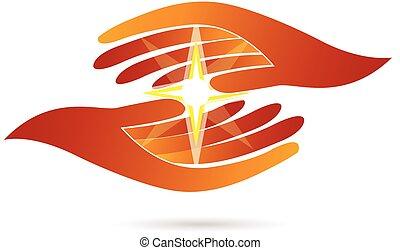 estrella, logotipo, manos de valor en cartera, luz