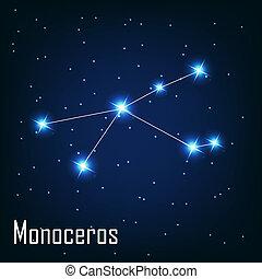 """"""", estrella, monoceros"""", sky., ilustración, vector, noche, constelación"""