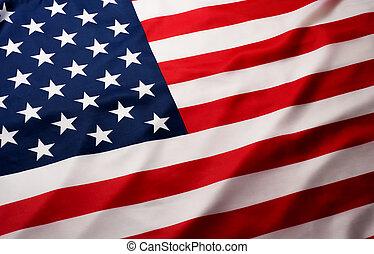 estrella, norteamericano, bandera ondeante, beautifully,...