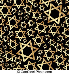 estrella, oro, patrón, seamless, david, oscuridad, religión...