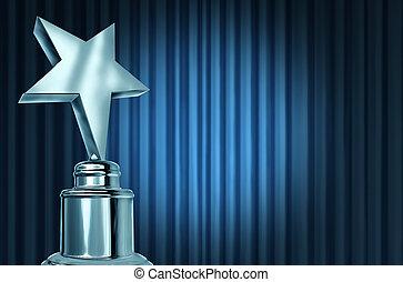 estrella plata, premio, en, azul, cortinas