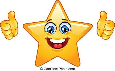 estrella, pulgares arriba