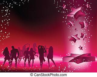 estrella rosa, multitud, bailando, aviador, fiesta
