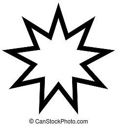 estrella, símbolo, número, bahai, nueve, sagrado, ángulos
