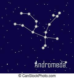 """"""", estrella, sky., ilustración, andromeda"""", vector, noche, constelación"""