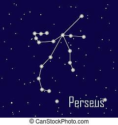 """"""", estrella, sky., ilustración, perseus"""", vector, noche, constelación"""