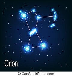 """estrella, sky., """"orion"""", ilustración, vector, noche, constelación"""
