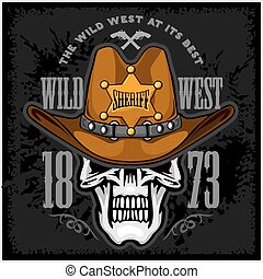 estrella, sombrero, sheriffs, vaquero, cráneo