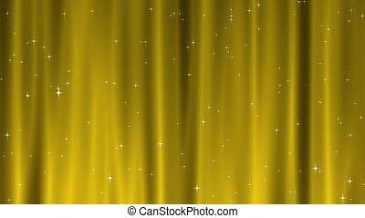 estrella, tapiz, oro, lazo