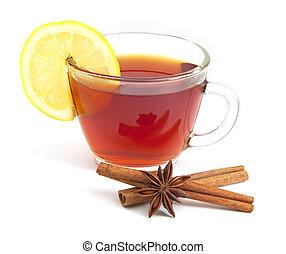 estrella, taza, limón, anís, canela, té