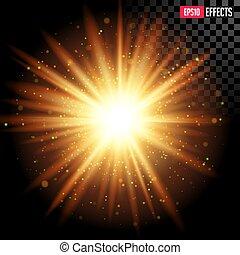 estrella, vector, effect., llamarada, sparkles., explosión, ...
