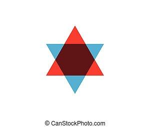 estrella, vector, plantilla, icono, david