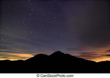 estrellado, asombroso, acompañar, meteoro, noche
