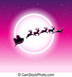 estrellado, encima, cielo, ilustración, vector, reindeers, santa, noche, magenta