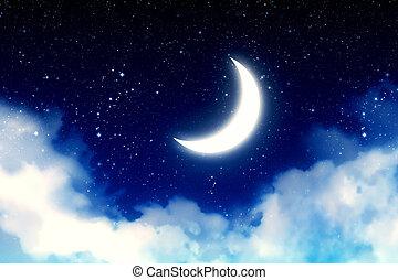 estrellado, encima, cielo, luna medialuna