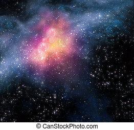 estrellado, espacio, plano de fondo, profundo, exterior