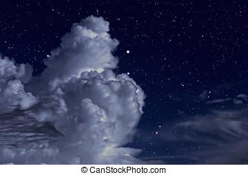 estrellado, noche, con, nubes