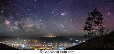 estrellado, noche, panorama
