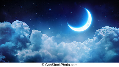 estrellado, noche, romántico, luna