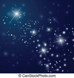 estrellado, resumen, cielo, noche