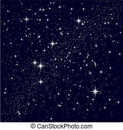 estrellado, vector, cielo, ilustración