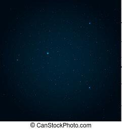 estrellado, vector, cielo, plano de fondo, noche