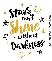 estrellas, brillo, can't, oscuridad, sin
