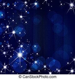 estrellas, brust, en, movimiento, azul, mancha, rayo,...