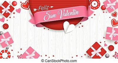 estrellas, día, cajas, vector, de madera, imagen, valentino, blanco, rodeado, valentin, idioma, san, cinta, -, fondo., feliz, español, regalo, corazones, rojo, rosa, feliz
